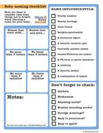 Printable baby name checklists