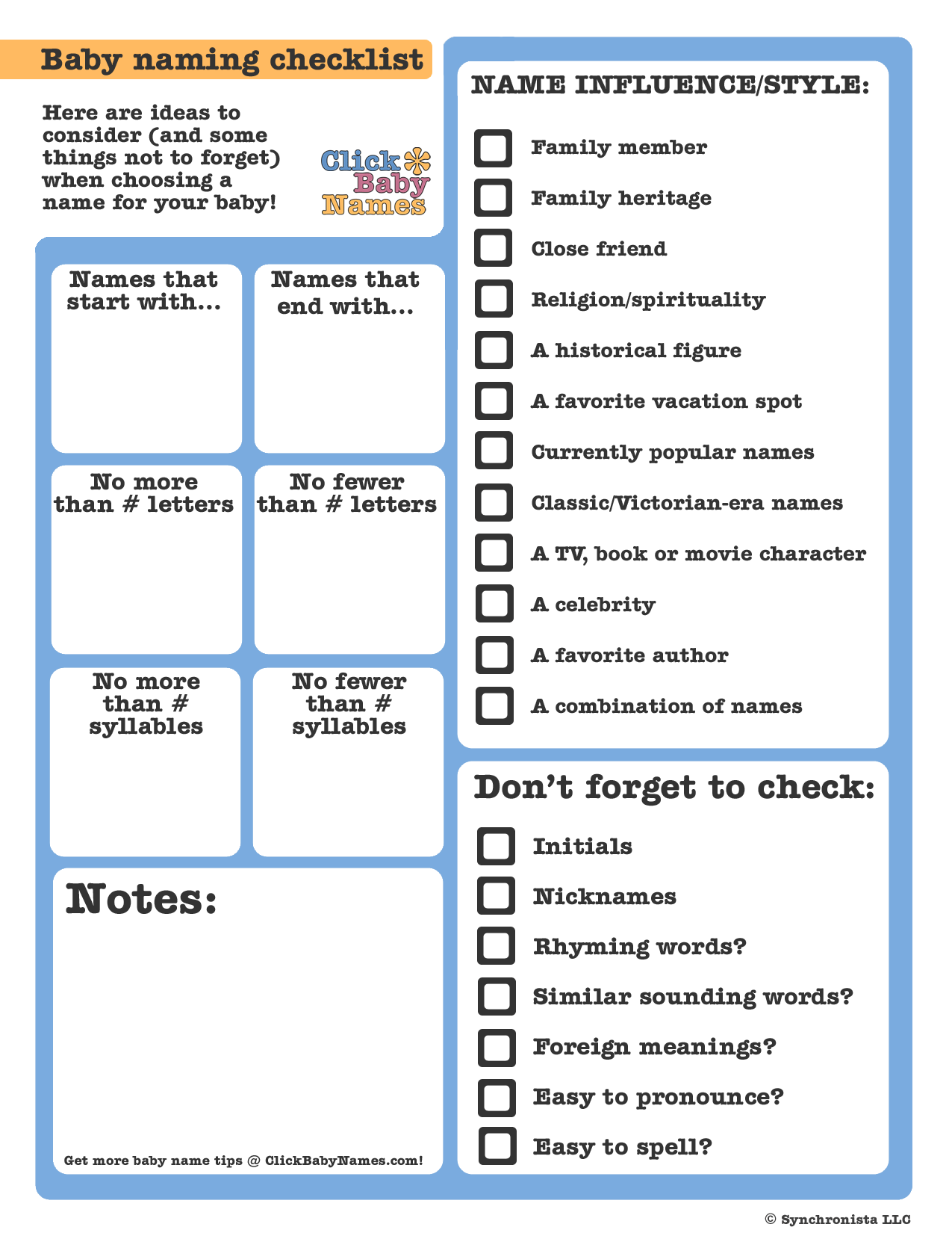 Printable baby name checklists - Click Baby Names