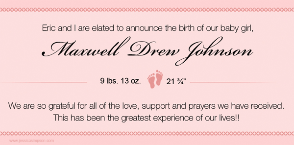 Jessica Simpson baby birth announcement