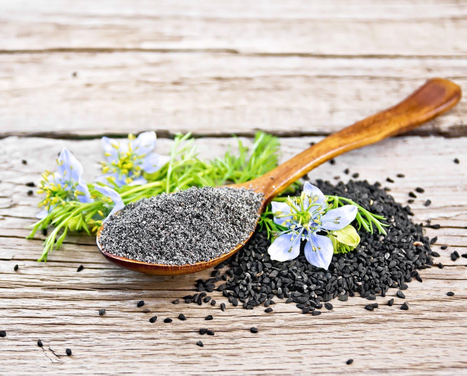 Nigella flower and black seeds